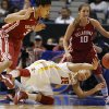 Iowa State\'s Kidd Blaskowsky (15) passes the ball from between Oklahoma\'s Portia Durrett (31) and Morgan Hook (10) during the Big 12 tournament women\'s college basketball game between the University of Oklahoma and Iowa State University at American Airlines Arena in Dallas, Sunday, March 10, 2012. Oklahoma lost 79-60. Photo by Bryan Terry, The Oklahoman