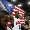 United States\' LeBron James celebrates after the men\'s gold medal basketball game at the 2012 Summer Olympics, Sunday, Aug. 12, 2012, in London. USA won 107-100. (AP Photo/Eric Gay)