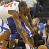Kevin Durant and Damien Wilkins chase after a loose ball during the US Fleet Tracking Basketball Invitational at the Cox Convention Center in Oklahoma City Sunday, Oct. 23, 2011. The White Team defeated the Blue Team 176-171. Photo by John Clanton, The Oklahoman