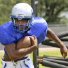Guthrie High School\'s Kelyn Hinds runs a drill during practice in Guthrie, Friday August 15, 2014. Photo By Steve Gooch, The Oklahoman