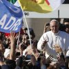 Pope Francis waves to crowds as he arrives to his inauguration Mass in St. Peter\'s Square at the Vatican, Tuesday, March 19, 2013. (AP Photo/Michael Sohn)