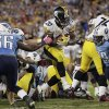 Pittsburgh Steelers running back Baron Batch (20) gets past Tennessee Titans outside linebacker Akeem Ayers (56) and defensive end Pannel Egboh (79) to score a touchdown during the second half of an NFL football game Thursday, Oct. 11, 2012, in Nashville, Tenn. (AP Photo/Wade Payne)