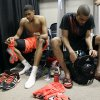 Louisville\'s Angel Nunez, left, and Jared Swopshire, right, sit in the locker room after an NCAA Final Four semifinal college basketball tournament game against Kentucky Saturday, March 31, 2012, in New Orleans. Kentucky won 69-61. (AP Photo/Mark Humphrey)