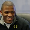 Heisman candidate LaMichael James, running back for Oregon, speaks to reporters during a news conference on Friday, Dec. 10, 2010, in New York. (AP Photo/Andrew Burton)