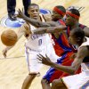 EXHIBITION: Russell Westbrook of the Oklahoma City Thunder passes around Mike Taylor, center, and Ricky Davis of the L.A. Clippers, to teammate Kevin Durant during the preseason NBA basketball game between the Oklahoma City Thunder and the Los Angeles Clippers at the Ford Center in Oklahoma City, Tuesday, October 14, 2008. BRYAN TERRY, THE OKLAHOMAN ORG XMIT: KOD
