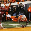 OSU\'s Kendall Hunter dives in for a touchdown during the first half of the college football game between the University of Oklahoma Sooners (OU) and Oklahoma State University Cowboys (OSU) at Boone Pickens Stadium on Saturday, Nov. 29, 2008, in Stillwater, Okla. STAFF PHOTO BY CHRIS LANDSBERGER