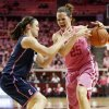 Kelly Faris of UConn pressures OU\'s Whitney Hand during a February 2012 game at the Lloyd Noble Center in Norman. PHOTO BY NATE BILLINGS, The Oklahoman Archives