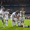 Photo -   Real Madrid's players celebrate after scoring their second goal against Manchester City during a Champions League Group D soccer match at the Santiago Bernabeu Stadium, in Madrid, Tuesday, Sept. 18, 2012. (AP Photo/Daniel Ochoa De Olza)