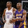 Oklahoma City\'s Kevin Durant (35) stands next to Los Angeles\' Kobe Bryant (24) during an NBA basketball game between the Oklahoma City Thunder and the Los Angeles Lakers at Chesapeake Energy Arena in Oklahoma City, Thursday, Feb. 23, 2012. Photo by Bryan Terry, The Oklahoman