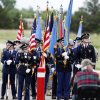 Various color guards from around the state prepare to present the flags at the 45th Infantry Division Memorial Day ceremony in Oklahoma City, Monday, May 26, 2014.