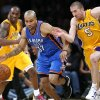 Photo - LOS ANGELES LAKERS: Oklahoma City's Derek Fisher (37) and Los Angeles' Steve Blake (5) scramble for a loose ball during Game 4 in the second round of the NBA basketball playoffs between the L.A. Lakers and the Oklahoma City Thunder at the Staples Center in Los Angeles, Saturday, May 19, 2012. PHOTO BY NATE BILLINGS, The Oklahoman