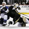 Photo - St. Louis Blues' Barret Jackman (5) collides with Pittsburgh Penguins' Sidney Crosby, right, in the second period of an NHL hockey game in Pittsburgh, Sunday, March 23, 2014. (AP Photo/Gene J. Puskar)
