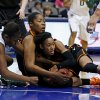Baylor\'s Destiny Williams (10) fights with Oklahoma State\'s Tiffany Bias (3), at right, and LaShawn Jones (55) for the ball during the Big 12 tournament women\'s college basketball game between Oklahoma State University and Baylor at American Airlines Arena in Dallas, Sunday, March 10, 2012. Photo by Bryan Terry, The Oklahoman