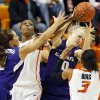 From left, Kansas State\'s Brittany Chambers (2), Oklahoma State\'s Toni Young (15), Kansas State\'s Heidi Brown (10) and Oklahoma State\'s Tiffany Bias (3) battle for a rebound during an NCAA women\'s basketball game between Oklahoma State University (OSU) and Kansas State at Gallagher-Iba Arena in Stillwater, Okla., Saturday, Feb. 16, 2013. Photo by Nate Billings, The Oklahoman