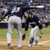 Milwaukee Brewers\' Ryan Braun, right, is congratulated by Rickie Weeks (23) after hitting a two-run home run against the San Diego Padres in the first inning of a baseball game, Monday, April 22, 2013, in San Diego. (AP Photo/Alex Gallardo)