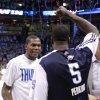 Oklahoma City\'s Kevin Durant (35) and Kendrick Perkins (5) celebrate following game five of the Western Conference semifinals between the Memphis Grizzlies and the Oklahoma City Thunder in the NBA basketball playoffs at Oklahoma City Arena in Oklahoma City, Wednesday, May 11, 2011. Photo by Sarah Phipps, The Oklahoman