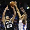 San Antonio\'s Menu Ginobili (20) shoots over Oklahoma City\'s Thabo Sefolosha (2) during Game 3 of the Western Conference Finals between the Oklahoma City Thunder and the San Antonio Spurs in the NBA playoffs at the Chesapeake Energy Arena in Oklahoma City, Thursday, May 31, 2012. Photo by Nate Billings, The Oklahoman