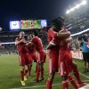 Photo - San Jose Earthquakes' Yannick Djalo, right, is hugged by teammate Chris Wondolowski after Djalo's goal against the Seattle Sounders during the first half of an MLS soccer match Saturday, Aug. 2, 2014, in Santa Clara, Calif. (AP Photo/Marcio Jose Sanchez)