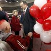 New University of Oklahoma men\'s basketball coach Lon Kruger speaks fan Carolyn Powell after he was introduced as the new University of Oklahoma men\'s basketball coach on Monday, April 4, 2011, in Norman, Okla. Photo by Chris Landsberger, The Oklahoman
