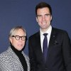This image released by Starpix shows designer Tommy Hilfiger, left, with Baltimore Ravens quarterback Joe Flacco at the Tommy Hilfiger Men\'s Fall 2013 collection, Friday, Feb. 8, 2013 during Fashion Week in New York. (AP Photo/Starpix, Andrew Toth)