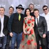 Photo -  Fourth from right, Shawna Thompson and second from right, Miami, OK, native Keifer Thompson, of the musical group Thompson Square with the musical group Blues Traveler arrive at the 49th annual Academy of Country Music Awards at the MGM Grand Garden Arena on Sunday, April 6, 2014, in Las Vegas. (AP)