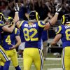 St. Louis Rams kicker Greg Zuerlein (4) is congratulated by Johnny Hekker, left, after making a 54-yard field goal to defeat the San Francisco 49ers 16-13 in overtime of an NFL football game, Sunday, Dec. 2, 2012, in St. Louis. Running past are Rams\' Matthew Mulligan (82) and Tim Barnes (61). (AP Photo/Tom Gannam)