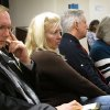 Left to right, William Vantz, the son of murder victim Helen Vantz; Mary Cheriki, Helen Vantz\' niece; and Michael Vantz, another son of Helen Vantz, listen to arguments at a clemency hearing for Ronald Post, Helen Vantz\' killer, on Thursday, Dec. 6, 2012, at the Ohio Parole Board in Columbus, Ohio. (AP Photo/Andrew Welsh-Huggins)