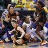 Baylor\'s Odyssey Sims (0) gets caught between Oklahoma State\'s Liz Donohoe (4) and Toni Young (15) as Oklahoma State\'s Tiffany Bias (3) watches during the Big 12 tournament women\'s college basketball game between Oklahoma State University and Baylor at American Airlines Arena in Dallas, Sunday, March 10, 2012. Oklahoma State lost 77-69. Photo by Bryan Terry, The Oklahoman