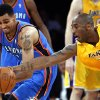 Los Angeles\' Kobe Bryant (24) defends against Oklahoma City\'s Thabo Sefolosha (2) during Game 3 in the second round of the NBA basketball playoffs between the L.A. Lakers and the Oklahoma City Thunder at the Staples Center in Los Angeles, Friday, May 18, 2012. Photo by Nate Billings, The Oklahoman