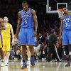 Oklahoma City\'s Serge Ibaka (9), Kevin Durant (35) and Kendrick Perins (5) walk along with Los Angeles\' Metta World Peace (15) and Steve Blake (5) to the other end of the court after a foul by the Thunder with 12.9 seconds left in Game 3 in the second round of the NBA basketball playoffs between the L.A. Lakers and the Oklahoma City Thunder at the Staples Center in Los Angeles, Friday, May 18, 2012. Photo by Nate Billings, The Oklahoman
