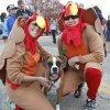 Ashley and Jeff Buterbaugh wait for the start of the Turkey Trot with their dog Miley in Edmond, Thursday November 22, 2012. The annual Turkey Trot is a fundraiser for Turning Point Ministries. Photo By Steve Gooch, The Oklahoman