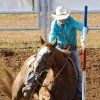 Sadie Johnson, of Pickton, TX., grabs the pole as her horse slips while competing in the pole bending event during the second day of the International Finals Youth Rodeo at the Shawnee Expo Center on Tuesday, July 15, 2008, in Shawnee, Okla. Staff Photo By CHRIS LANDSBERGER