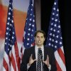 Craig Romney son of Republican presidential candidate and former Massachusetts Gov. Mitt Romney speaks during Mitt\'s election night rally, Tuesday, Nov. 6, 2012, in Boston. (AP Photo/Elise Amendola)