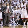 Miami coach Erik Spoelstra and LeBron James (6) watch during the final seconds of Game 3 of the NBA Finals between the Oklahoma City Thunder and the Miami Heat at American Airlines Arena, Sunday, June 17, 2012. Photo by Bryan Terry, The Oklahoman