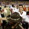 Sam Bradford leaves the field after the college football game between the University of Oklahoma Sooners (OU) and the University of Tulsa Golden Hurricanes (TU) at H.A. Chapman Stadium on Friday, Sept. 21, 2007, in Tulsa, Okla. By Bryan Terry, The Oklahoman ORG XMIT: KOD
