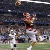 Oklahoma\'s Trey Millard (33) misses the ball in the end zone during the Cotton Bowl college football game between the University of Oklahoma (OU)and Texas A&M University at Cowboys Stadium in Arlington, Texas, Friday, Jan. 4, 2013. Oklahoma lost 41-13. Photo by Bryan Terry, The Oklahoman