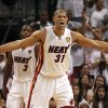 Miami Heat\'s Shane Battier yells as he prepares to defend against the Oklahoma City Thunder during the second quarter of Game 3 of the NBA Finals basketball series, Sunday, June 17, 2012, in Miami. (AP Photo/The Miami Herald, Charles Trainor Jr.) MAGS OUT ORG XMIT: FLMIH205