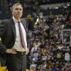 Photo - Los Angeles Lakers head coach Mike D'Antoni looks in the direction of the scoreboard while playing the Indiana Pacers during the second half of an NBA basketball game in Indianapolis, Tuesday, Feb. 25, 2014. The Pacers won 118-98. (AP Photo/AJ Mast)
