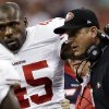 "File - In this Aug. 18, 2012, file photo, San Francisco 49ers\' Brandon Jacobs (45) is helped off by head coach Jim Harbaugh in the first quarter of an NFL preseason football game against the Houston Texans in Houston. Jacobs has posted advice on Twitter with a reference to never working ""in a place where you hate your boss so much."" The hash tag: ""YouLiveAndYouLearn."" Jacobs had terrible timing with the tweet Thursday, Nov. 15, 2012, considering coach Harbaugh was hospitalized for what the team called a ""minor procedure"" for an irregular heartbeat. In the locker room soon after his post, Jacobs said people shouldn't ""assume"" his remarks were football-related, then followed up with more tweets. He made one post saying that ""football is not my life."" (AP Photo/David J. Phillip, File)"