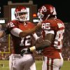 Oklahoma\'s Landry Jones celebrates with Ryan Broyles after a touchdown during their game against Missouri Saturday in Norman. OU won 38-28.Photo by Bryan Terry, The Oklahoman