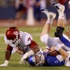 Oklahoma\'s Corey Nelson (7) brings down Kansas\' Jordan Webb (2) during the college football game between the University of Oklahoma Sooners (OU) and the University of Kansas Jayhawks (KU) at Memorial Stadium in Lawrence, Kansas, Sunday Oct. 16, 2011. Photo by Bryan Terry, The Oklahoman