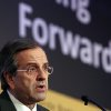 FILE - In this Monday, Oct. 15, 2012 file photo shows Greece\'s Prime Minister Antonis Samaras delivers a speech in a forum of International Herald Tribune in Athens. Samaras said on Tuesday, Oct. 30, 2012 that the government had essentially ended negotiations on new austerity measures and warned of