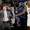 Oklahoma City head coach Scott Brooks shouts beside Kevin Durant during the NBA basketball game between the Oklahoma City Thunder and the Phoenix Suns at the Ford Center in Oklahoma City on Tuesday, Nov. 25, 2008. BY BRYAN TERRY, THE OKLAHOMAN ORG XMIT: KOD