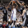 San Antonio\'s Kawhi Leonard (2) and San Antonio\'s Tim Duncan (21) defend on Oklahoma City\'s Kendrick Perkins (5) during Game 6 of the Western Conference Finals between the Oklahoma City Thunder and the San Antonio Spurs in the NBA playoffs at the Chesapeake Energy Arena in Oklahoma City, Wednesday, June 6, 2012. Photo by Chris Landsberger, The Oklahoman