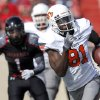 Oklahoma State\'s Justin Blackmon (81) runs after a catch during a college football game between Texas Tech University (TTU) and Oklahoma State University (OSU) at Jones AT&T Stadium in Lubbock, Texas, Saturday, Nov. 12, 2011. Photo by Sarah Phipps, The Oklahoman ORG XMIT: KOD