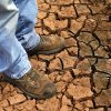 Fred Reuter stands on the cracked earth in a pond on his farm near El Reno.