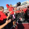 Texas Tech\'s Terrance Bullitt celebrates after theri 49-14 win over West Virginia in an NCAA college football game in Lubbock, Texas, Saturday, Oct. 13, 2012. (AP Photo/Lubbock Avalanche-Journal, Stephen Spillman) LOCAL TV OUT
