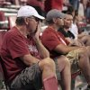 Fans linger in disbelief after the college football game where the University of Oklahoma Sooners (OU) lost 24-19 to the Kansas State University Wildcats (KSU) at Gaylord Family-Oklahoma Memorial Stadium, Saturday, September 22, 2012. Photo by Steve Sisney, The Oklahoman