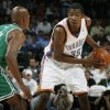 Oklahoma City\'s Kevin Durant looks past the defense of Boston\'s Ray Allen in the first half during the NBA basketball game between the Oklahoma City Thunder and the Boston Celtics at the Ford Center in Oklahoma City, Wednesday, Nov. 5, 2008. BY NATE BILLINGS, THE OKLAHOMAN