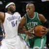 Photo - Boston's Ray Allen tries to get past Chris Wilcox of the Thunder in the second half during the NBA basketball game between the Oklahoma City Thunder and the Boston Celtics at the Ford Center in Oklahoma City, Wednesday, Nov. 5, 2008. Boston won, 96-83. BY NATE BILLINGS, THE OKLAHOMAN ORG XMIT: KOD